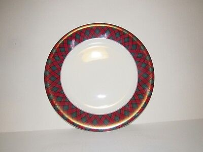 Sasaki Tartan Plaid Red Green Round Serving Chop Plate Charles Roberts Japan