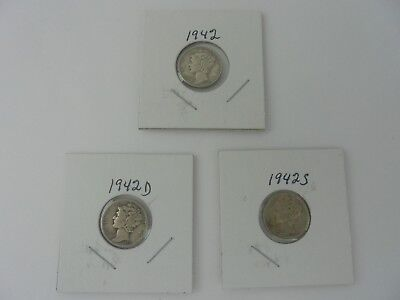 Lot 0f 3 Winged Liberty Head or Mercury Dimes 1942,1942D,& 1942S Circulated