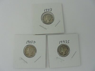 Lot 0f 3 Winged Liberty Head or Mercury Dimes 1943,1943D,& 1943S Circulated