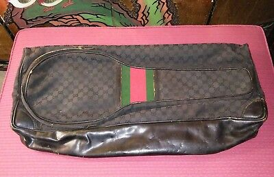 Rare Vintage 1970's Authentic Gucci Black Tennis Bag Made in Italy