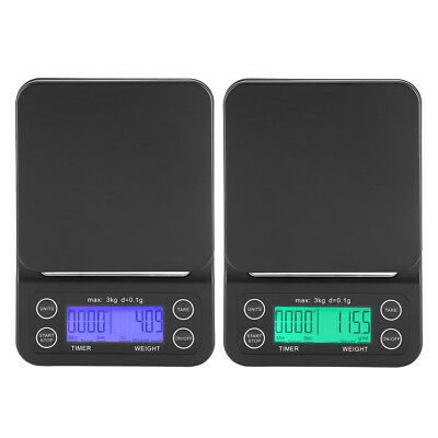 3KG/0.1g Electronic Digital Kitchen Food Scale Drip Coffee Weighing with Timer S