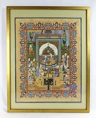 15Th C. Signed Persian Miniature Painting Opaque W/c, Gilt On Paper, Royal Court