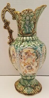 Beautiful Vintage Hand Painted Ornate Victorian Style Jug Pitcher Antique Vase