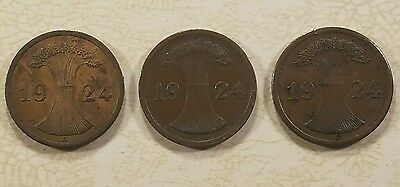 Germany Lot of 3 coins, 2 Pfennig 1924 A, E, J German Empire Rare old Collector