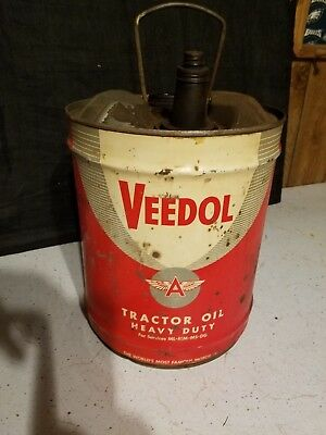 Vintage 5 Gallon Veedol, Flying A, Tractor Oil Heavy Duty Can