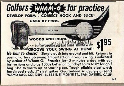 1954 Print Ad Wham-O Golfers Practice Used by Pros for Golf Swing San Gabriel,CA
