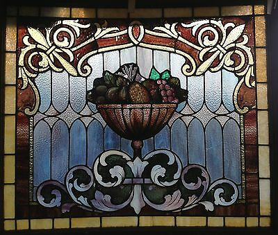 vintage stained glass fruit bowl window