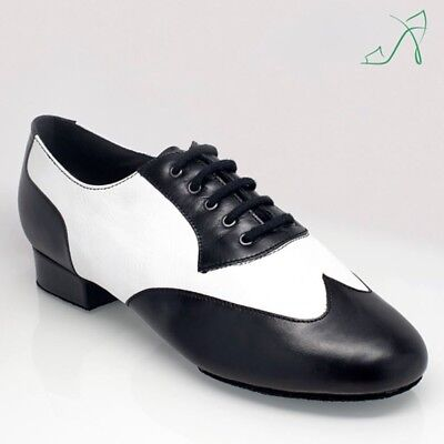 Ray Rose 338 Black/White Calf Leather Mens Ballroom Standard Smooth Dance Shoes