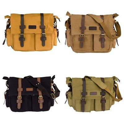 984a703336 Military Satchel Messenger Bag Vintage Canvas Travel Business for 15 Inch  Laptop