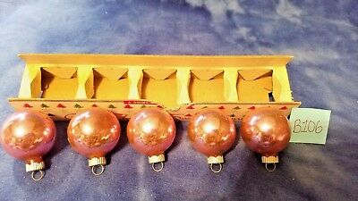 "5 Vintage Christmas Ornaments Pink Mercury Glass 1 3/4"" in Box SHINY BRITE 1940s"