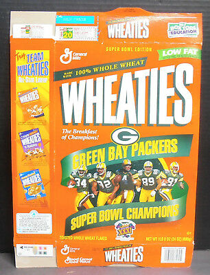 1997 Wheaties Green Bay Packers Super Bowl XXXI Champions Cereal Box
