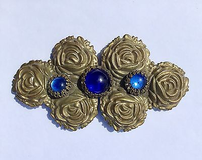 Beautiful Antique VICTORIAN BRASS ROSES BELT BUCKLE w/ Blue Glass Cabochons