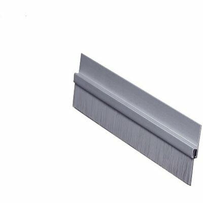 """Pemko Brush Door Bottom Sweep, Clear Anodized Aluminum With 0.625"""" Gray Nylon H"""
