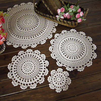 yazi Tablecloth Handmade Crochet Lace Cotton Placemat Table Cloth Doily Cover