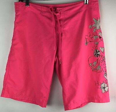 Hurley Board Shorts Girls Boys Juniors Size 7 Hot Pink Flowers Skulls Flaw-Stain