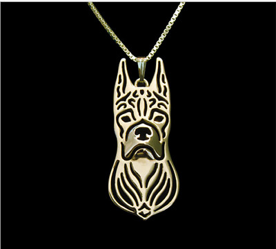 Boxer pendant  necklace, dog necklace , 18 k golden plated dog necklace ,