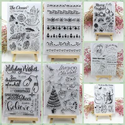 Xmas Transparent Silicone Clear Rubber Stamp Sheet Cling Scrapbooking DIY