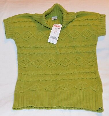 Girls Small (5-6) Gymboree Sweater Green Cable Knit Short Sleeved $34.75 NWT!