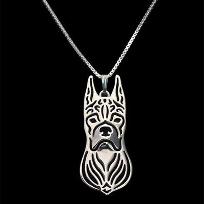 Boxer pendant  necklace, dog necklace , sterling silver boxer necklace