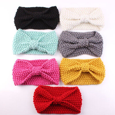 Yellow Crochet Bowknot Hair Band Baby Toddler Winter Bow Chic Headband