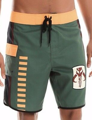 Star Wars Boba Fett Cosplay Swim Trunks Board Shorts Size 28 New with Tags