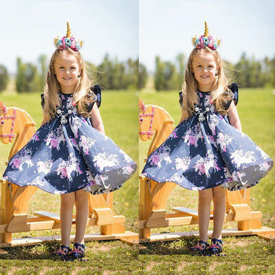 US 1-6 Years Toddler Baby Girls Floral Outfits Set Clothes Summer Dress Costume