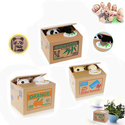 Gift Panda Stealing Coin Money Cat Penny Cents Piggy Bank Saving Box Dog Gift AU