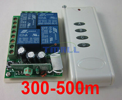 12V 4 Channel Way Wireless Remote Control Switch Relay Output with 500m Range
