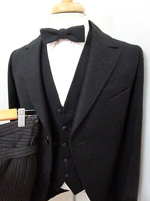 Vtg EDWARDIAN Era Black Tuxedo Suit 36 R ~ BUCKLE BACK ~ MINT ~ WEDDING