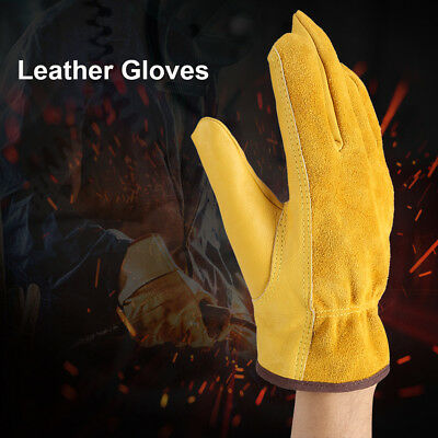 1Pair Cowhide Leather Gardening Gloves Garden Labor Working Protector Size XL/L