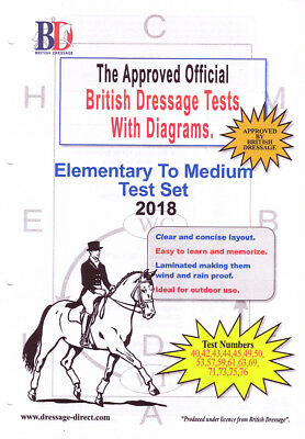 2018 ELEMENTARY TO MEDIUM TEST SET: Laminated Dressage Tests with Diagrams