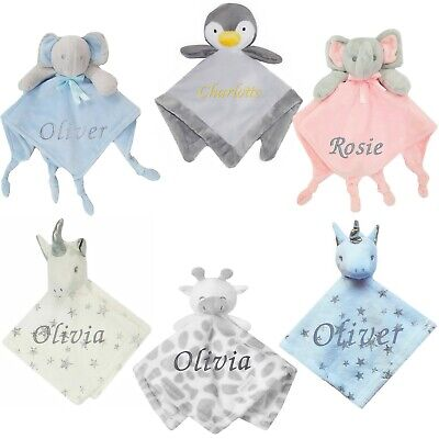 Baby Boy Girl Personalised Name Comforter Blanket Elephant Rabbit Unicorn Fox