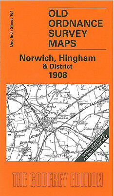 Old Ordnance Survey Map Norwich Hingham 1908 Catton East Dereham Wymondham