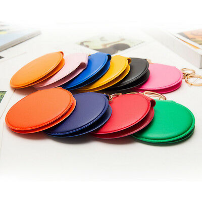 1X Round Lady Makeup Mirror Portable Compact Pocket Cosmetic Mirror KeyringRDBD