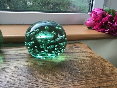 Antique Victorian Large Green Glass Paperweight Controlled Bubble 1.8kg Vgc