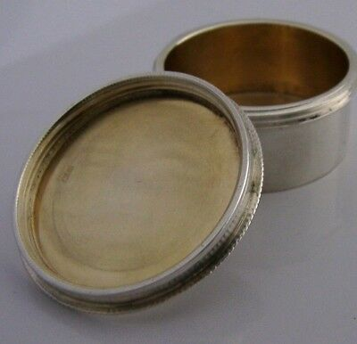 Good Quality English Sterling Silver Screw Top Pill Box 1961
