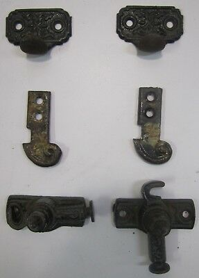 2 Sets Antique 1871 Eastlake Victorian Window Sash Latch Lock Pulls Cast Metal C