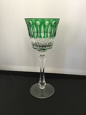 Faberge XENIA Emerald Green Cut to Clear Crystal Wine Goblet Signed New 8.25""