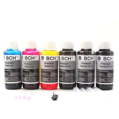 Premium Bulk Refill Ink 600 ml Pigment Black + Photo Dye Color for Canon Printer