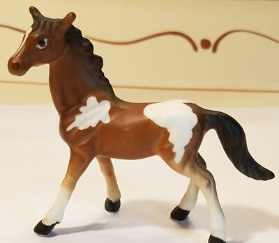 Brown And White Pinto Pony Horse Ceramic Porcelain Figurine