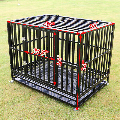 """42"""" Heavy Duty Dog Cage Large Metal Crate Square Tube Pet Kennel Playpen w/ Tray"""