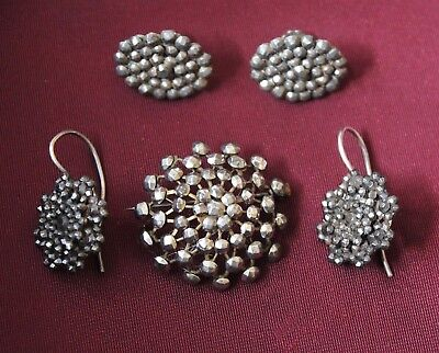 Fab Lot Of Antique Victorian Riveted Cut Steel 2 X Pairs Earrings And Brooch