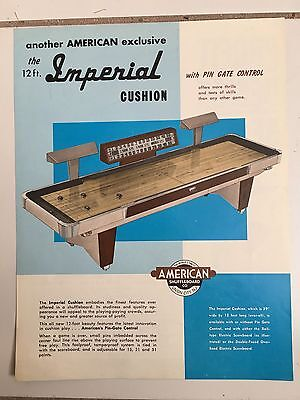 """""""imperial Shuffleboard By American -1962 """"rare"""" In Plastic Cover-Promo Brochure"""