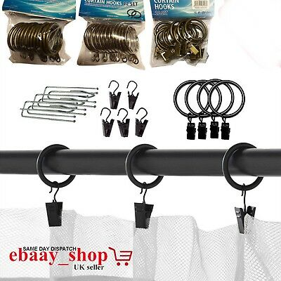 Curtain Rings Hooks Strong Metal Curtain Pole Rod Rings With Clips OR Eyes Hooks