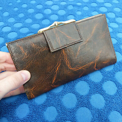 Womens Vintage Real Pursian Leather Purse Money Notes Cards Coins Made England