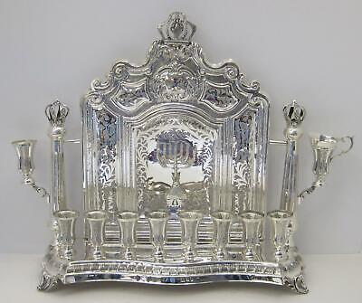 925 Sterling Silver Handcrafted Open Ornate Chased Back Wall Hanukkah Menorah