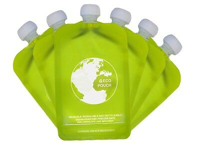Reusable Baby Food Pouch No Leak Squeeze 6 x 150ml BPA PVC Free Eazy Squeezy New