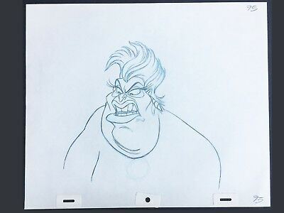 Walt Disney Production Drawing of Ursula from The Little Mermaid 1989.