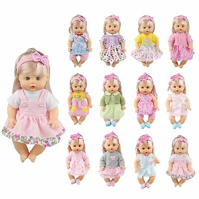 Pack of 12 Fit for 12-14 Inches Alive Baby Doll Dresses Clothes Include Hair