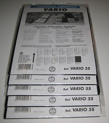 Lighthouse Vario 5-S Stock Pages 5 packs, 25 pages - NEW - Black, Double-Sided